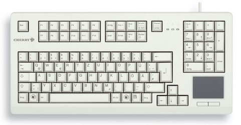 "CHERRY Keyboard mit Touchpad USB 19"" hellgrau US/€ Layout"
