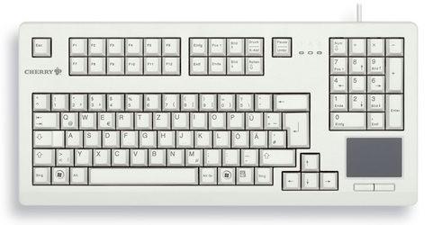"CHERRY Keyboard mit Touchpad USB 19"" hellgrau US Layout"