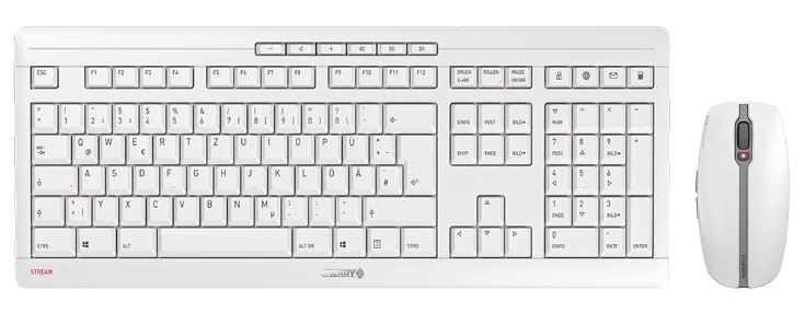 CHERRY Keyboard+Mouse JD-8500EU STREAM wireless+Bluetooth hellgrau US/EU Layout