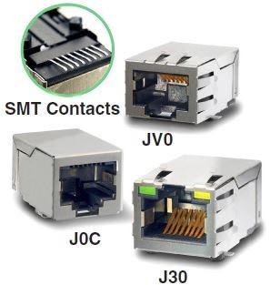 RJ45 Single Port SMD 1X1 Tab up 100 Base-TX LED g/y