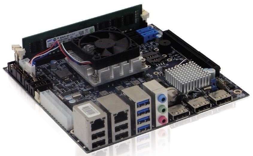 KTQM87/mITX Cel-2000E, w. 2x GB LAN, 3x DP, AMT 9.0, RAID,  Incl. ActiveCooler