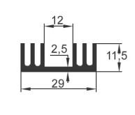 Strangkühlkörper mit Montagefläche 29 mm