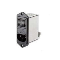 IEC Switch & 2 Fuse 250VAC, 10A, Flange Left/Right