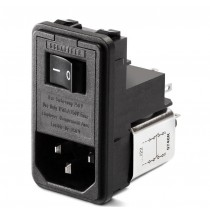 IEC, Switch, Fuse and V-Selector 250VAC, 2A, Snap-in, US 6.3x32