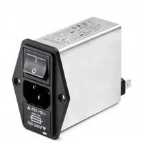 IEC, Switch,2 Fuse and V-Selector 250VAC, 2.5A, Faston, E-Line Choke