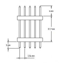 Stiftleiste 2x 8-polig, mit 2 Iso-Körper. gerade