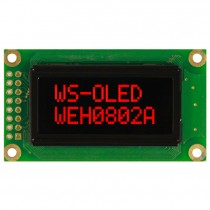 OLED 8x2 COB Character Display 38x16mm with built in Controller WS0010
