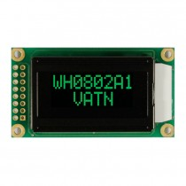 VATN LCD 8x2 Character Display, 38x16mm, Green LED, VA neg, Transm, W.T., 12:00, Controller ST7066