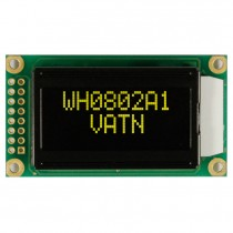 VATN LCD 8x2 Character Display, 38x16mm, Yellow LED, VA neg, Transm, W.T., 12:00, Controller ST7066