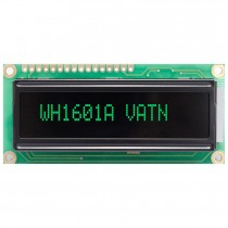 VATN LCD 16x1 Character Display, 66x16mm, Green LED, VA neg, Transm, W.T., 12:00, Controller ST7066