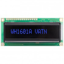 VATN LCD 16x1 Character Display, 66x16mm, Blue LED, VA neg, Transm, W.T., 12:00, Controller ST7066
