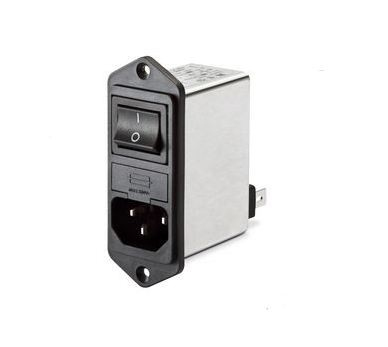 IEC Switch & 2 Fuse 250VAC, 4A, Flange Left/Right