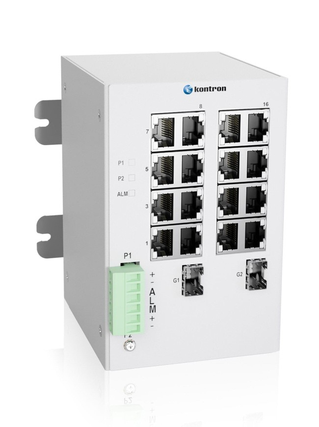 Industrial 18-port Unmanaged Ethernet Switch,-40 °C to 75 °C of operating temp., Dual DC power input