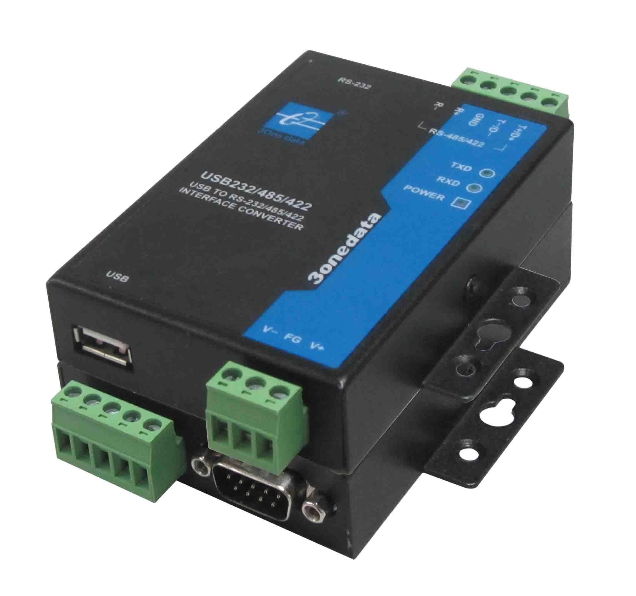 3onedata Interface Converter,1xUSB 2.0 TypeA to 1x RS232/422/485,-40+75C,Input 12VDC