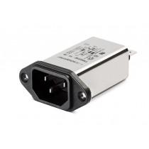 IEC HP 250VAC, 6A, Faston, E-Line Choke, SnHP-in Horizontal