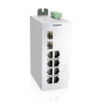 Industrial 10-port Unmanaged Ethernet Switch,-40 °C to 75 °C of operating temp., Dual DC power input