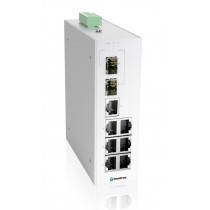 Industrial 9-port managed Ethernet switch,-10 °C to 60 °C of operating temperature, dual DC power in
