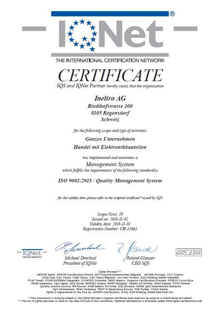 IQNet Certificate 2015