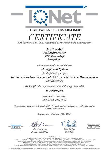 IQNet Certificate 2019