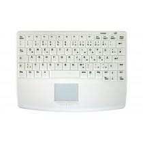 Sanitizable 83Key RF Flat Centric Touchpad Keyboard, Fully Sealed, USB, White, German layout