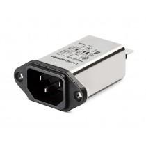 IEC 250VAC, 8A, Faston, E-Line Choke, Snap-in Horizontal
