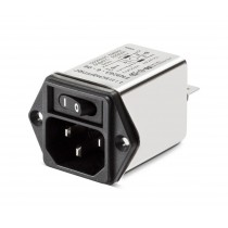 IEC with Single Pole Switch 250VAC, 6A, Faston, Snap-in Vertical