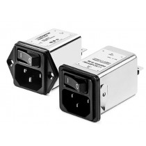 IEC with Dual Pole Switch 250VAC, 4A, Faston, Snap-in Vertical