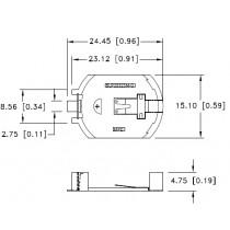 Batteriehalter für CR2032, Low Profile, SMT, verg.