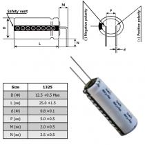 VEL13253R8157G0-B085 VINATech Hybrid Li Cap 3.8V 150F 13x25 Radial P5 90° bended N=2.5mm
