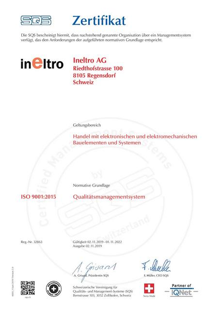 SQS ISO 9001 Certificate 2019